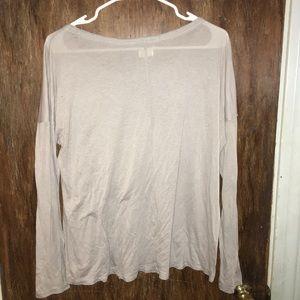 aerie Tops - Aerie light gray beaded pocket top